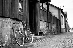 Porvoo Old Town. A bike next to Wanha Laamanni restaurant in Old Town Porvoo Finland Stock Photo