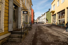 Porvoo. A small town in Finland, not far from Helsinki. It is know for it`s old town made of colorul, traditional wooden houses. it is a turistic place, full of Stock Images