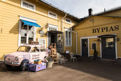 Porvoo. A small town in Finland, not far from Helsinki. It is know for it`s old town made of colorul, traditional wooden houses. it is a turistic place, full of Stock Image