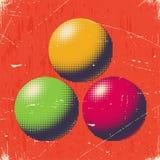 Porysowana retro karta z halftone piłkami Obrazy Royalty Free