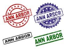 Porysowane Textured ANN ARBOR znaczka foki ilustracji