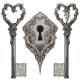 Porysowani klucze & Keyhole Zdjęcia Royalty Free