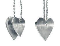 Porysowani metalu serca breloczki Zdjęcia Royalty Free