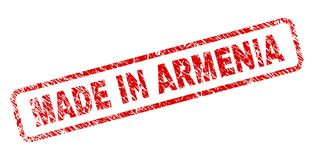 Porysowany ROBIĆ W ARMENIA Zaokrąglał prostokąta znaczek Zdjęcia Stock