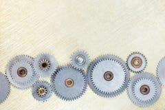 Porysowany technologii tło z metali gearwheels Fotografia Royalty Free
