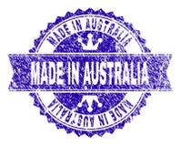 Porysowany Textured ROBIĆ W AUSTRALIA znaczka foce z faborkiem ilustracja wektor