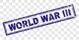 Porysowany wojny światowej III prostokąta znaczek ilustracja wektor