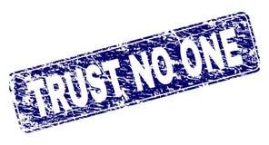 Porysowany zaufanie NIKT Obramiający Zaokrąglony prostokąta znaczek ilustracja wektor