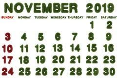 Porządkuje dla Listopadu 2019 na białym tle, ilustracja wektor