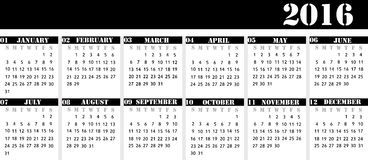 Porządkuje dla roku 2016 dla biurko kalendarza, surowy biznes ilustracji