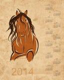 Porządkuje 2014, koński nakreślenie na grunge papierze Zdjęcia Stock