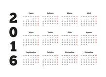 Porządkuje 2016 rok na Hiszpańskim języku, A4 prześcieradło Fotografia Royalty Free