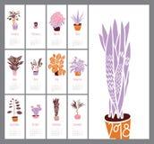 Porządkuje 2018, Salowe rośliny i kwiaty, ręka rysunek, set Obrazy Stock