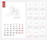 Porządkuje 2019 szablon, minimalisty kalendarza set dla 2019 rok na popielatym tle royalty ilustracja