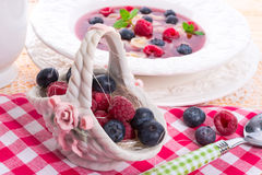 Porzelan basket with raspberry and bilberry. A porzelan basket with raspberry and bilberry Stock Photography