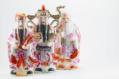 Porzellan des weißen Rheinweins Lok Siew oder Fu Lu Shou, drei Götter des Chinesen, Stockbilder