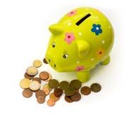 Porzellansparschwein und -münzen Lizenzfreie Stockfotos