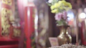 Porzellantempel rotes bokeh Hintergrundkonzept der Unschärfe 4K für glücklichen Darstellungshintergrund des Chinesischen Neujahrs stock video