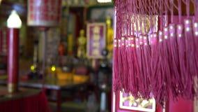 Porzellantempel rotes bokeh Hintergrundkonzept der Unschärfe 4K für glücklichen Darstellungshintergrund des Chinesischen Neujahrs stock footage