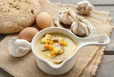 Porzione di minestra acida della segale fatta di farina di segale e di carne inacidite fotografie stock