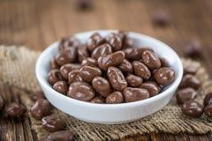 Porzione di uva passa del cioccolato Fotografia Stock