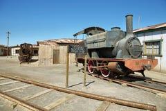 Porzucony i rdzewiejący kontrpara pociąg w Humberstone, Chile Zdjęcie Royalty Free