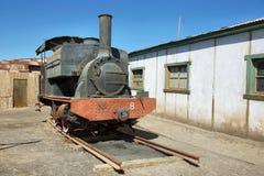 Porzucony i rdzewiejący kontrpara pociąg w Humberstone, Chile Zdjęcia Royalty Free
