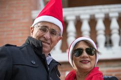 Posé pour Noël dans un mariage supérieur photo libre de droits