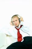 posłuchaj muzyki zdjęcie stock