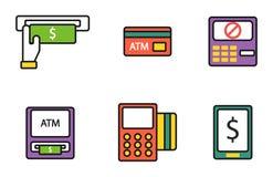 Pos-стержень ATM с наличными деньгами валюты денег передвижного обслуживания перехода оплаты значков кредитной карточки руки и ав Стоковое Изображение RF