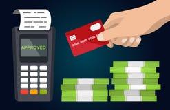 POS付款终端用手和信用卡平的传染媒介 免版税库存图片