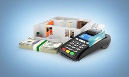 购买或付款的概念安置的公寓布局与堆金钱美国人一百元钞票和POS终端 库存例证