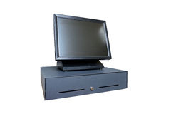POS all-in-one computer. Point of sale all in one computer/terminal with cashdrawer Stock Photo