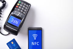 POS card and mobile isolated nfc transmision system Stock Image