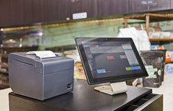 POS Counter Side Tablet Royalty Free Stock Photos