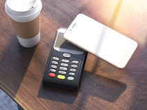 POS Credit card machine with smartphone. 3d rendering Royalty Free Stock Photos
