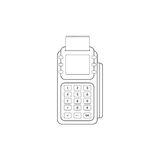 POS Credit Card Terminal Line Icon On White Background. E-commerce Royalty Free Stock Image