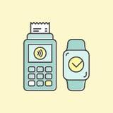 POS de terminal bevestigt de betaling door msmarthorloge dat wordt verricht De betalingen van conceptenpictogrammen NFC in een vl Stock Foto