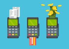 Pos terminal. Pos cashless payment concept. Pos machine. Pos machine with credit card. Vector. Pos terminal. Pos cashless payment concept Stock Images