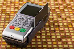 POS payment mobile gprs terminal with black blank card Stock Images