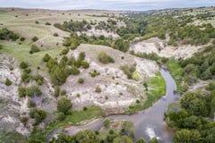 Posępnie rzeka w Nebraska piaska wzgórzach Fotografia Royalty Free