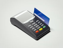 POS portable credit card machine and credit card . 3d rendering Royalty Free Stock Photo