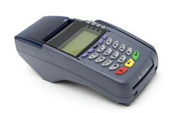 POS-terminal. Modern POS terminal with magnetic stripe and chip reader Stock Photography