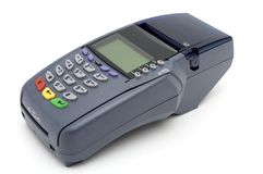 POS-terminal. Modern POS terminal with magnetic stripe and chip reader Royalty Free Stock Image
