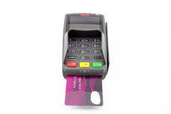 Pos payment terminal with card Royalty Free Stock Photos