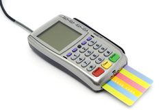 POS-terminal with card inserted Stock Photos