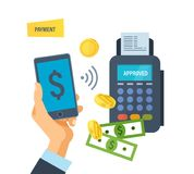 Pos terminal. Payment transactions. Hand presses payment button in phone. Pos terminal confirms the payment by smartphone. Financial transactions by phone. Hand Stock Photography