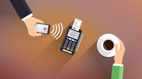 Pos terminal confirms payment from smartphone. Mobile Payment and NFC technology concept. Flat style illustration. Mobile Payment and NFC technology concept vector illustration
