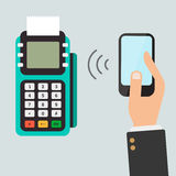Pos terminal confirms the payment by smartphone. Royalty Free Stock Images