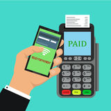 Pos terminal confirms the payment by smartphone. Vector illustration in flat design on blue background. nfc payments concept Royalty Free Stock Image